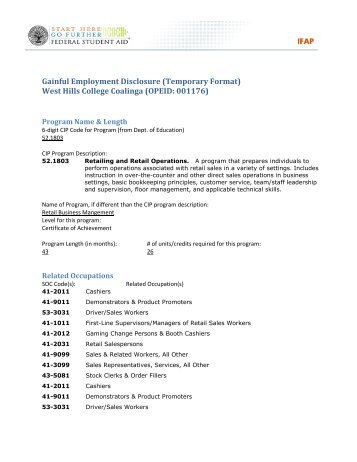 Gainful Employment Disclosure (Temporary Format) West Hills ...