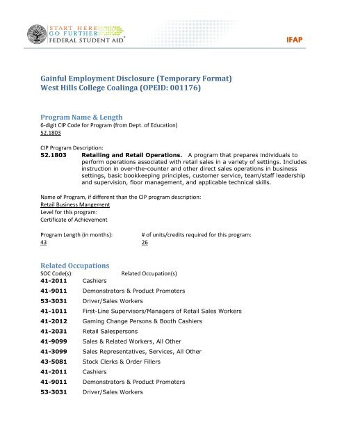 Gainful Employment Disclosure Temporary Format West Hills