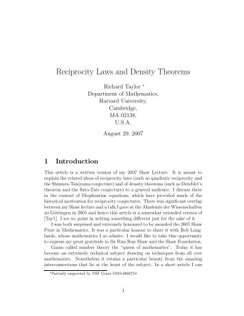 Reciprocity Laws and Density Theorems - IAS