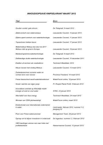 INHOUDSOPGAVE KNIPSELKRANT MAART 2012 Titel Bron - Wetsus