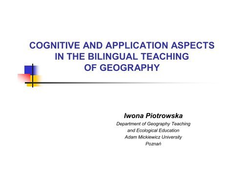 Cognitive and application aspects in the bilingual teaching of ...