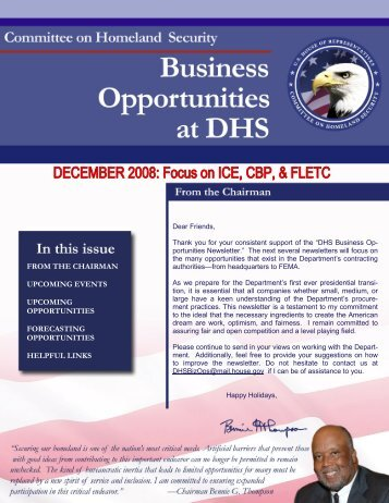 DHS Business Opportunities - December Newsletter - Committee on ...