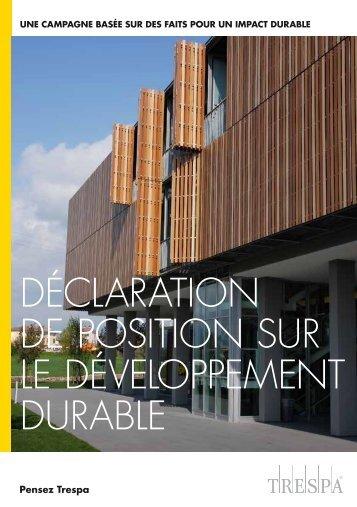 déclaration de position sur le développement durable - Trespa