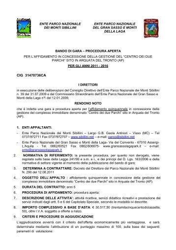 scarica il Documento - Parco Nazionale del Gran Sasso