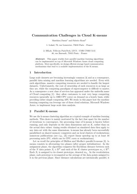 Communication Challenges in Cloud K-means