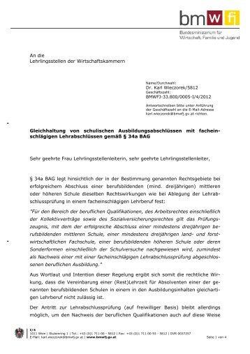 Gleichhaltung Lehrabschlüsse BMHS Erlass BMWFJ 2-2013