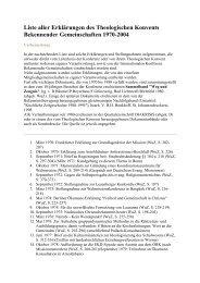 Liste aller Erklärungen des Theologischen Konvents Bekennender ...