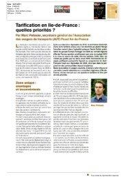 Tarification en Ile-de-France : quelles priorités ? - amutc