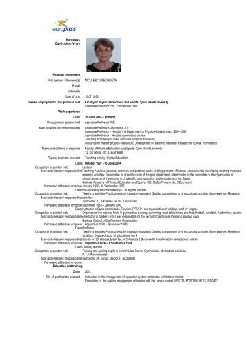 cv format european petru lisievici  english