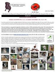 SPEAKING OF DOGS NOVEMBER 2010 NEWSLETTER
