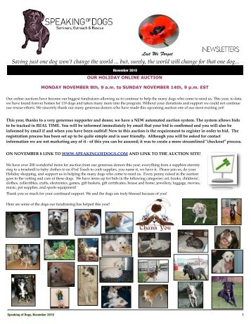 SPEAKING OF DOGS NOVEMBER 2010 NEWSLETTER
