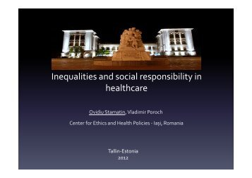 Inequalities and social responsibility in healthcare