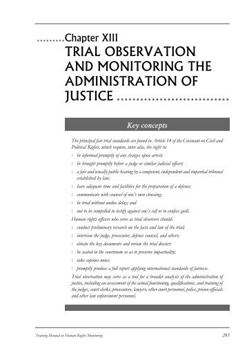 trial observation and monitoring the administration of justice