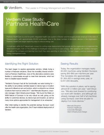 partners healthcare system case study Partners healthcare system inc (b): cardiac care improvement case solution, examines the challenges faced by the ceo at brigham and women's hospital in the wake of radical changes in the medical environment.