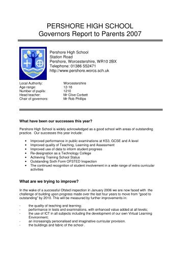 PERSHORE HIGH SCHOOL Governors Report to Parents 2007