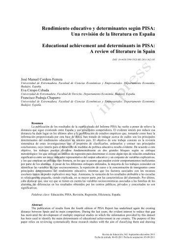 Rendimiento educativo y determinantes según PISA - Revista de ...