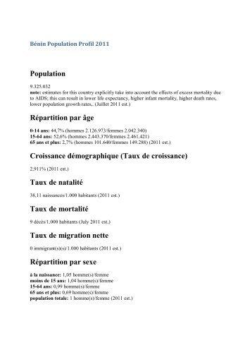 Population Répartition par âge Croissance démographique ... - eRails