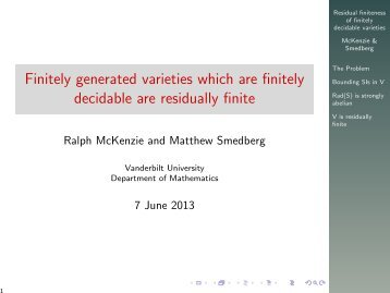 Finitely generated varieties which are finitely decidable are ...