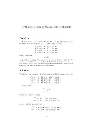 Arithmetic coding of Markov source, example