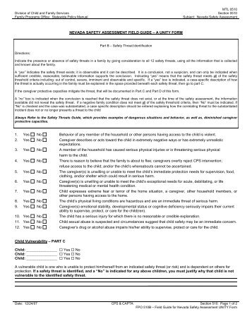 nevada safety assessment cheat sheet - Division of Child and ...
