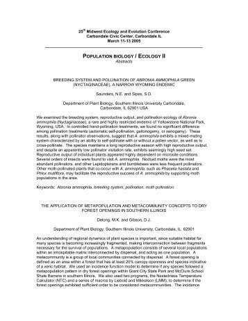 Download abstracts - Mypage Web Server - Southern Illinois ...