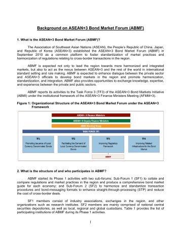 Background on ASEAN+3 Bond Market Forum (ABMF) - Bapepam