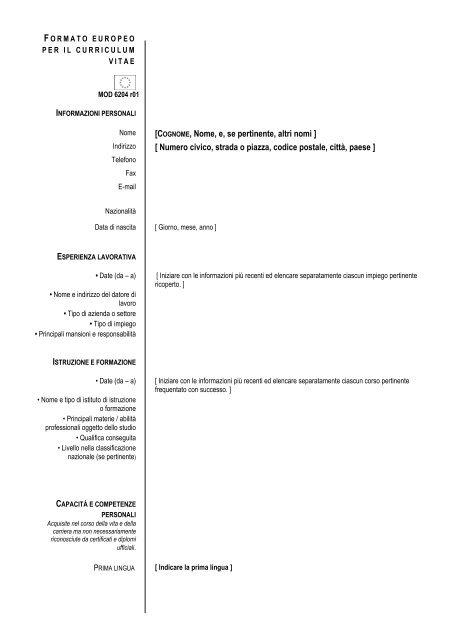 curriculum vitae formato pdf