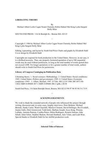 LIBERATING THEORY By Michael Albert Leslie Cagan Noam ...