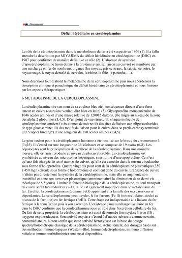 Déficit héréditaire en céruléoplasmine Le rôle de la ... - Afef