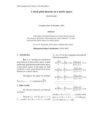 A fixed point theorem on n metric spaces - Ultrascientist.org