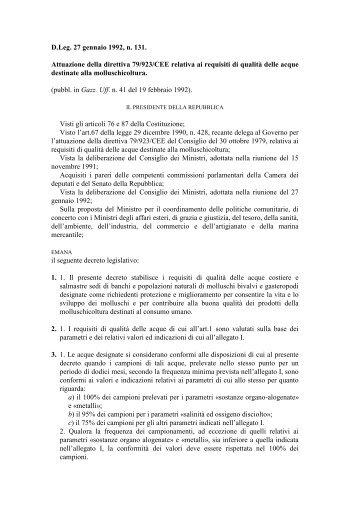 Attuazione della direttiva 79/923/CEE relativa ai requisiti di ... - Ismea