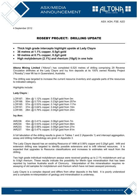 AOH0382 - Roseby Project Drilling Update.pdf - Altona Mining