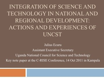 Integration of Science and Technology in national - Science Initiative ...