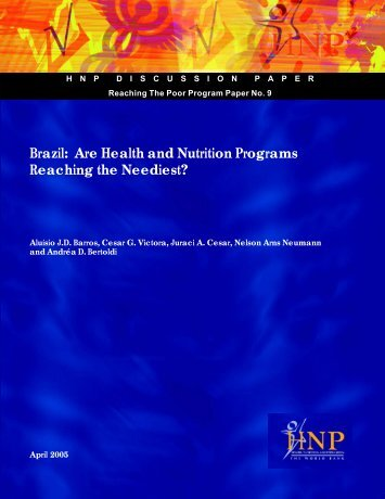 Brazil: Are Health and Nutrition Programs Reaching the ... - BVSDE