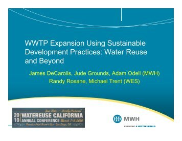 WWTP Expansion Using Sustainable Development Practices: Water ...
