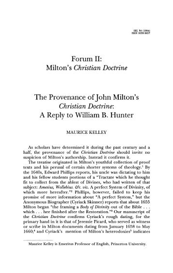 The Provenance of John Milton's Christian Doctrine - The Johns ...