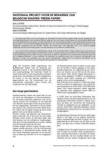 Nationaal project voor de bewaring van Belgische kranten - ABD-BVD