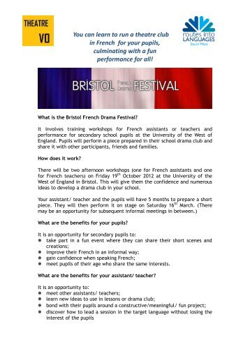 French Drama Festival 2013_flyer final.pdf - Routes Into Languages