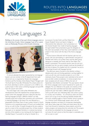 Summer 2010 Newsletter 7 - Routes Into Languages