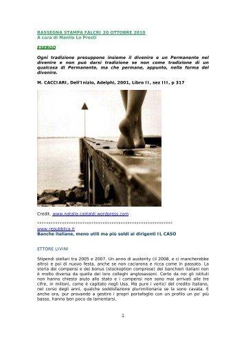 RASSEGNA STAMPA FALCRI 20 OTTOBRE 2010 A cura di Manlio ...