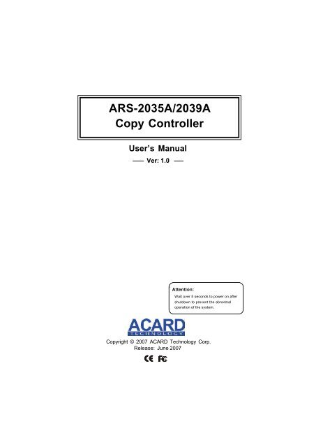 Driver for Acard ARS-3010
