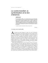 Le contre-transfert, la symbolisation et le don d'absence