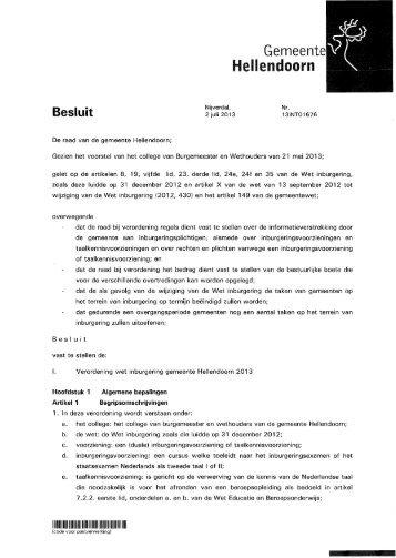 Besluit Verordening wet inburgering gemeente Hellendoorn ... - Raads