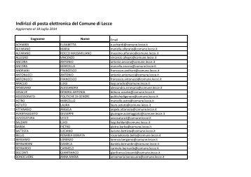 Elenco indirizzi email - Comune di Lecce