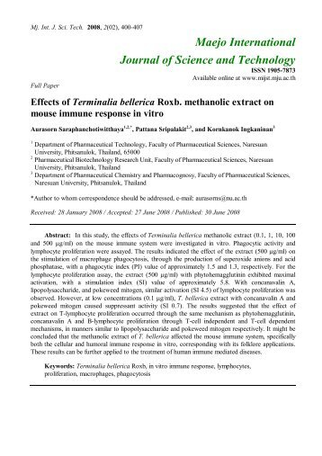 Effects of Terminalia bellerica Roxb. methanolic extract on mouse ...