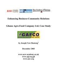 Ghana Agro-Food Company Ltd. Case Study - World Volunteer Web