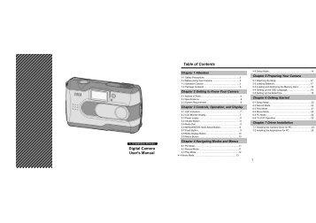 Digital Camera User's Manual Table of Contents - Energy Sistem
