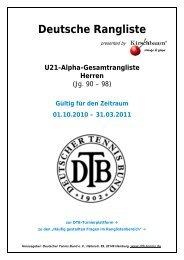 Deutsche Rangliste - Tennis Point Bundesliga