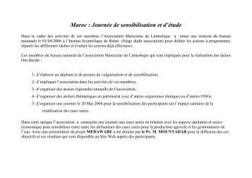 Maroc : Journée de sensibilisation et d'étude