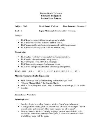 School of Education Lesson Plan Format - Houston Baptist University